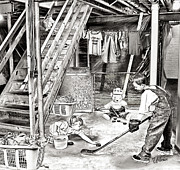 Youth Hockey Art - Playing in the Basement by Elizabeth Urlacher