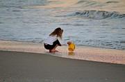 Playing In The Ocean Print by Cynthia Guinn