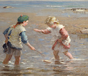 Playing In The Shallows Print by William Marshall Brown