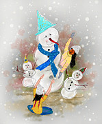 Dumindu Shanaka Metal Prints - Playing in the snow Metal Print by Dumindu Shanaka