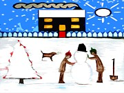 Christian Artwork Mixed Media - Playing In The Snow by Patrick J Murphy