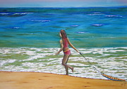 Playing Painting Originals - Playing in the Surf by Darla Sittman
