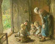 Parent Paintings - Playing Jacks on the Doorstep by Bernardus Johannes Blommers