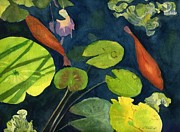 Koi Painting Posters - Playing Koi Poster by Lynne Reichhart