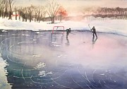Hockey Painting Framed Prints - Playing on Ice Framed Print by Yoshiko Mishina