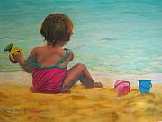 Bathing Pastels Prints - Playing on the Beach Print by Marion Derrett