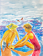Playing Painting Originals - Playing on the Beach by Walt Brodis