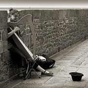 Buskers Photos - Playing the celtic harp by RicardMN Photography