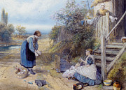 Myles Birket Foster Prints - Playing With Baby Print by Myles Birket Foster