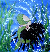 Little Mermaid Paintings - Playing with Bubbles by Delia Rios