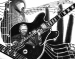 Musical Notes Drawings Prints - Playing with Lucille - BB King Print by Peter Piatt