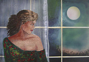 Night Game Paintings - Playing with the moon by Roni Ruth Palmer