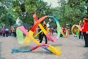 Park Art - Playing with the ribbons by George Atsametakis