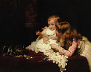 Little Girls Digital Art - Playmates by Charles Burton Barber