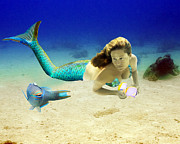 Angel Mermaids Ocean  Photo Posters - Playmates Poster by Paula Porterfield-Izzo