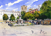 Margaret Merry Framed Prints - Plaza Bib Rambla Framed Print by Margaret Merry