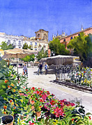 Plaza Bib Rambla Paintings - Plaza Bib-Rambla with flowers by Margaret Merry