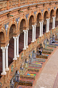 Decorative Benches Metal Prints - Plaza de Espana Colonnade in Seville Metal Print by Artur Bogacki