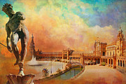 Old Town Painting Prints - Plaza de Espana Seville Print by Catf
