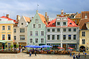 Estonia Photo Framed Prints - Plaza in Talin Estonia Framed Print by Linda Phelps