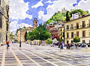 Margaret Merry Framed Prints - Plaza Nueva and Santa Ana Church Granada Framed Print by Margaret Merry