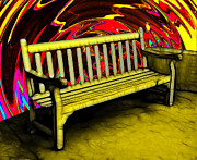 Photo Manipulation Digital Art Posters - Please Be Seated Poster by Wendy J St Christopher