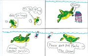 Award Drawings Prints - Please dont kill Turtles Print by Jay or Jaz Kelber