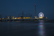 Roller Coaster Posters - Pleasure Pier at night  Poster by John McGraw