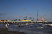 Roller Coaster Posters - Pleasure Pier at Sunset Poster by John McGraw