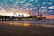 John Collins Posters - Pleasure Pier Galveston at dawn Poster by John Collins