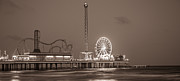Galveston Prints - Pleasure Pier in Galveston TX in Sepia  Print by John McGraw
