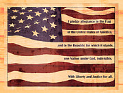 Pledge Of Allegiance Posters - Pledge on US Flag Wood Look Poster by Denise Beverly