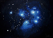 Constellation Paintings - Pleiades the Seven Sisters by Timothy Benz