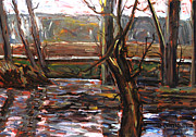 Fall  Of River Paintings - Plein Air of the Eel after Alfred Sisley by Charlie Spear