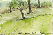 Pencil On Canvas Prints - Plein Air Sketchbook. Arroyo Verde Park Ventura June 23. 2012 Trees on a hill bending Print by Cathy Peterson