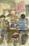 Works Drawings Prints - Plein Air Sketchbook. Stix Billiard Room. Ventura California. June 30. 2012. Boys at the Bar Print by Cathy Peterson