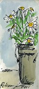House Jewelry - Plein Air Sketchbook. Ventura California 2011.  Tall bucket of daisies from my backyard by Cathy Peterson