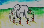 Plight Framed Prints - Plight of elephants Framed Print by Tanmay Singh