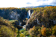 Plitvice Lakes National Park Posters - Plitvice Mountains Poster by David Waldo