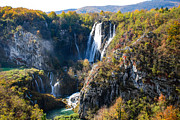 Plitvice Lakes National Park Posters - Plitvice Waterfalls Poster by David Waldo