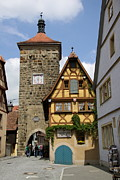 Christiane Schulze Acrylic Prints - Ploenlein With Sieberstower Rothenburg ob der Tauber Acrylic Print by Christiane Schulze