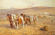 Farm Team Paintings - Ploughing by Joseph Harold Swanwick