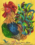 Baby Chickens Mixed Media Framed Prints - Plucky Rooster  Framed Print by Eloise Schneider