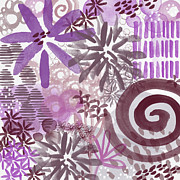 Plum And Grey Garden- Abstract Flower Painting Print by Linda Woods