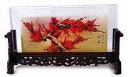 Glass Bottle Drawings Originals - Plum blossom in Screen by Guohui Wang