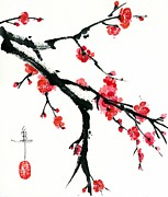 Plum Blossoms Paintings - Plum Branch by Linda Smith