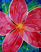 Tropical Flower Painting Posters - Plum Pretty Poster by Sharon Cummings