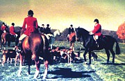 Foxhunting Prints - Plum Run Hunt Opening Day Print by Angela Davies