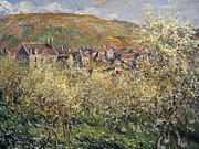 Village Views Posters - Plum Trees in Blossom at Vetheuil Poster by Claude Monet