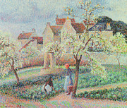 Chimneys Framed Prints - Plum Trees in Flower Framed Print by Camille Pissarro